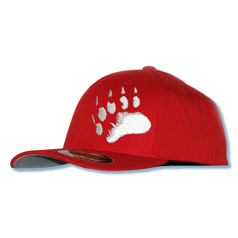 Polar Bear 3D Puff Paw Print Fitted Cap